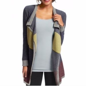 Cabi Color Block Open Front Waterfall Cardigan {C}